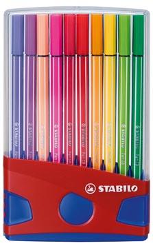 STABILO Pen 68 brush, ColorParade, rood-blauwe doos, 20 stuks in geassorteerde kleuren
